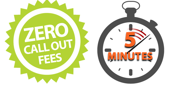 Zero Call Out Fees and 5 Minutes